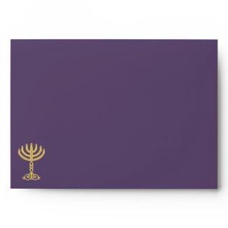 Hanukah Motif purple Invitation Envelope A7 envelope