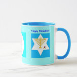 """Hanukah Mug<br><div class=""""desc"""">The Kabbalists teach that a drop of light, positive energy, can dissipate much darkness. This means that even when a situation seems dark, share your light. Watch as a region of positivity develops around you. This is like striking a match in a dark room. It's amazing what you can now...</div>"""