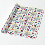 "Hanukiah Hanukkah Menorah Colorful Fun Wrapping Paper<br><div class=""desc"">Hanukiah, Hanukkah Menorah wrapping paper. Colorfully fun wrapping paper filled with drawings of Star of Davids, presents, hearts, and Hanukiahs! Background color can be changed out! Media: Matte Wrapping Paper Make sure every gift you give has a layer of love by creating custom wrapping paper. Available in four types of...</div>"