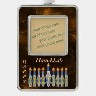 Hanukiyah Insert Photo Joyous Hanukkah Menorah Silver Plated Framed Ornament