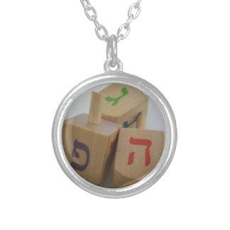 Hanukka dreidels round pendant necklace