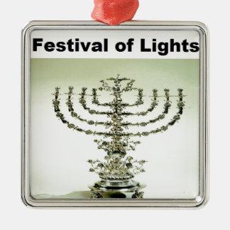 Hanukka - festival de luces adorno navideño cuadrado de metal