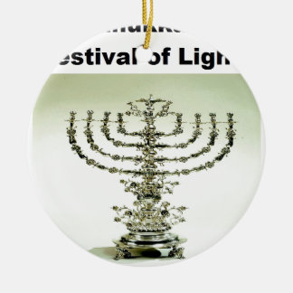 Hanukka - festival de luces adorno navideño redondo de cerámica