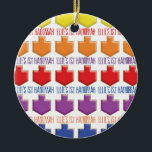 """Hanukkah """"3D Dreidels"""" Circle Ornament<br><div class=""""desc"""">Hanukkah """"3D Dreidels"""" Circle Ornament. (2 sided) Personalize both sides by deleting text on the ornament and replacing with your own. Then using your favorite font color, size, and style, type in your own words. Thanks for stopping and shopping by. Much appreciated! Happy Chanukah/Hanukkah! Bring a lot more holiday cheer...</div>"""