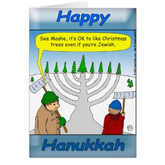 Hanukkah and Christmas holiday season Card