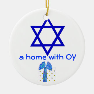 Hanukkah and Christmas Holidays Double-Sided Ceramic Round Christmas Ornament