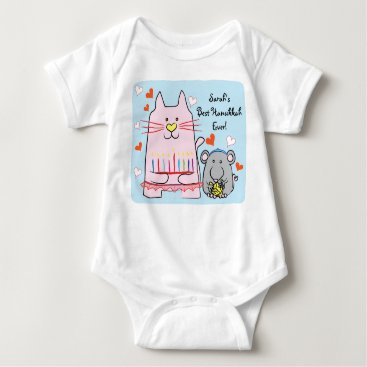 Toddler & Baby themed Hanukkah Baby Jersey Body Suit/Cat and Mouse Baby Bodysuit