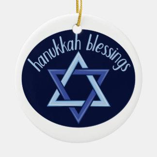Hanukkah Blessings Ceramic Ornament