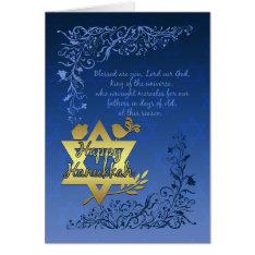 Hanukkah Blessings Greeting Card - Happy Hanukkah at Zazzle