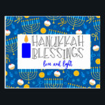"Hanukkah Blessings Postcard<br><div class=""desc"">A Cute Hanukkah Blessing Postcard To Send Out.</div>"