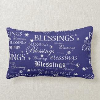 Hanukkah Blessings Snowflakes on Blue Pillow