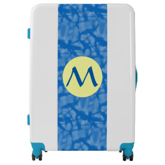 Hanukkah Blue and Yellow Circle With Initial Luggage