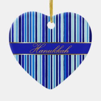 Hanukkah Blue Golden Stripes Heart Ornament