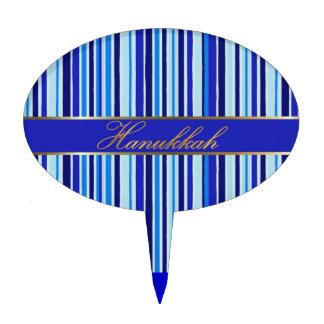 Hanukkah Blue Golden Stripes Oval Cake Topper