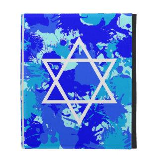Hanukkah Blue Paint Splatter iPad Folio Cover