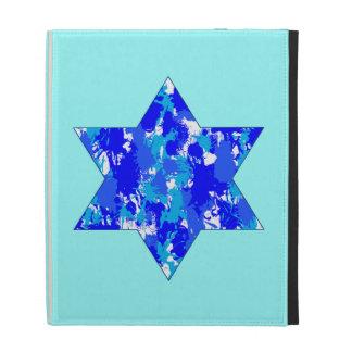 Hanukkah Blue Paint Splatter Jewish Star iPad Folio Case