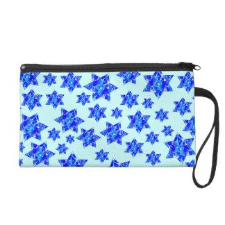 Hanukkah Blue Paint Splatter Jewish Stars Wristlet Clutches