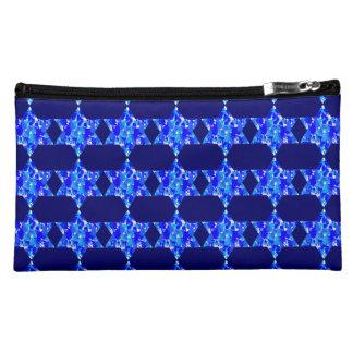Hanukkah Blue Paint Splatter Jewish Stars Makeup Bag