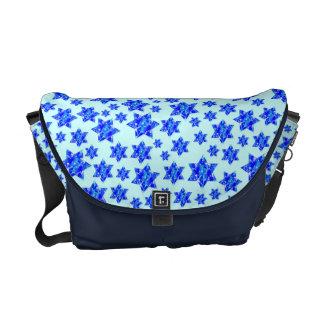 Hanukkah Blue Paint Splatter Jewish Stars Messenger Bag