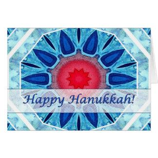 Hanukkah Blue Red and Aqua Mandala Card