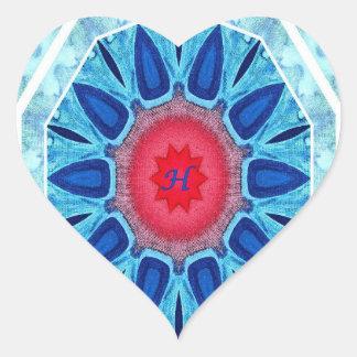 Hanukkah Blue Red and Aqua Mandala Heart Sticker
