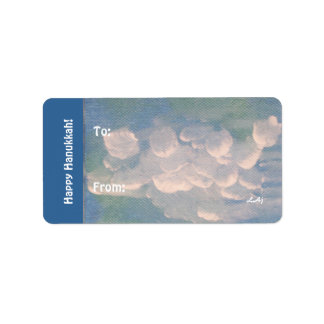 Hanukkah Blue White Clouds Gift Stickers
