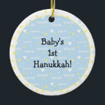 """Hanukkah """"Bubeleh""""/Blue/Yel hearts/Circle Ornament<br><div class=""""desc"""">Hanukkah """"Bubeleh""""/Blue/Yellow hearts-Circle Ornament. (2 sided) Personalize by deleting """"Baby's 1st Hanukkah!"""" on front and back of ornament. Then using your favorite font color, size and style, type in your own words. Thanks for stopping and shopping by. Much appreciated! Happy Chanukah/Hanukkah! Bring a lot more holiday cheer to your tree...</div>"""