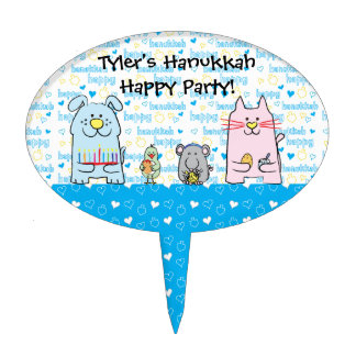 "Hanukkah Cake Pick ""PETS"" Personalized Oval"