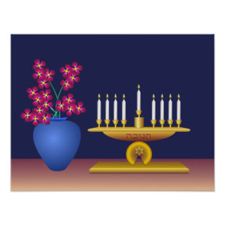 Hanukkah Candles and Flowers Poster