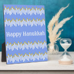 "Hanukkah Candles on Blue Plaque<br><div class=""desc"">Bright white candles with golden flames on a wonderful blue background.  Personalize for a special holiday gift!</div>"