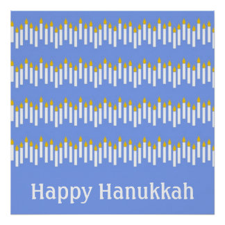 Hanukkah Candles on Blue Poster