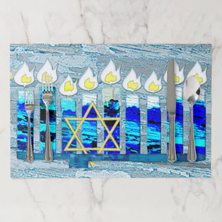 Hanukkah Candles with Gold Star of David Paper Placemat