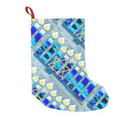 Hanukkah Candles with Gold Star of David Small Christmas Stocking