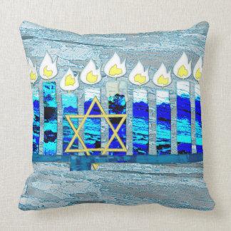 Hanukkah Candles with Gold Star of David Throw Pillow
