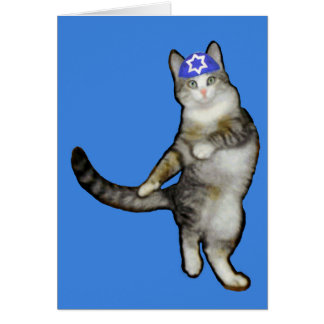 Hanukkah Card for Boy Dancing Cat
