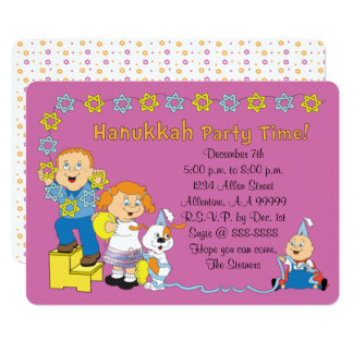 "Hanukkah Card Party Invitation 7"" x 5"" Personalize"