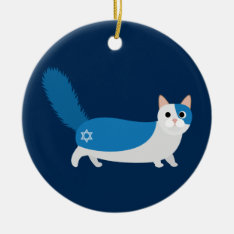 Hanukkah Cat Ceramic Ornament at Zazzle