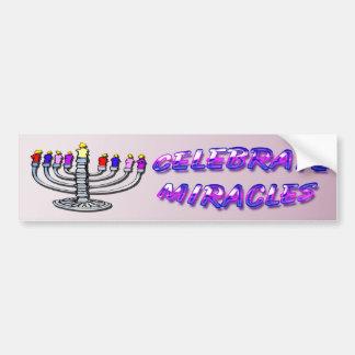 Hanukkah - Celebrate Miracles, Menorah Bumper Stic Car Bumper Sticker