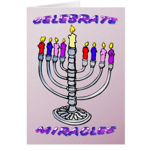 Hanukkah - Celebrate Miracles, Menorah Card