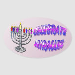 """Hanukkah - Celebrate Miracles, Menorah Oval Sticke Oval Sticker<br><div class=""""desc"""">Hanukkah - Celebrate Miracles, Menorah Features menorah with colorful candles. Decorative text reads Celebrate Miracles. Celebrate Hanukkah in style with these Hanukkah Gifts and decorations. Stand out from the Crowd with Mind Design Grafx™ Fashionable, Hanukkah Sticker. Be sure to check out the """"Customizable"""" options. Add your own personal flare to...</div>"""