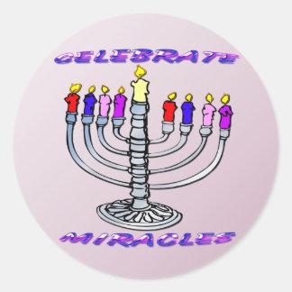 Hanukkah - Celebrate Miracles, Menorah Round Stick Classic Round Sticker