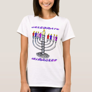 Hanukkah - Celebrate Miracles, Menorah T-Shirt