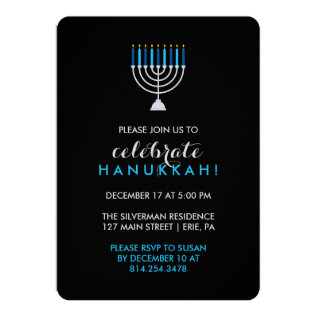 Hanukkah Celebration With Silver Menorah On Black Card at Zazzle