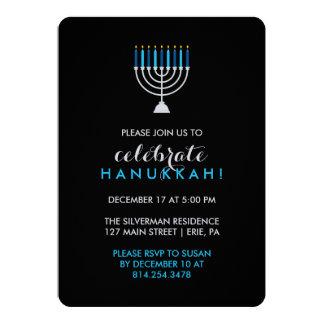 Hanukkah Celebration with Silver Menorah on Black Card