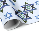 "Hanukkah, Chanukah, Bar,Bat Mitzvah Star of David Wrapping Paper<br><div class=""desc"">Hanukkah,  Chanukah,  textured look,  Star of David on light blue background.  Perfect for Bat or Bar Mitzvah. ALL DESIGN ELEMENTS ARE PRINTED</div>"