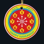 """Hanukkah Chanukah COLORFUL 8 CRAZY NIGHTS Ornament<br><div class=""""desc"""">Hanukkah """"COLORFUL 8 CRAZY NIGHTS"""" Circle Ornament. (2 sided) Personalize by deleting text on front and back of the ornament. Then using your favorite font color, size, and style, type in your own words. Background color can be changed out by choosing a different color from color swatches. Colors of circle...</div>"""
