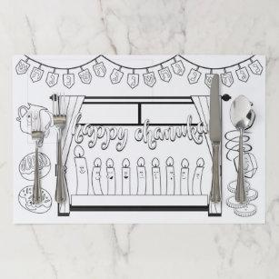 Hanukkah - Chanukah Coloring Place-mat Paper Placemat