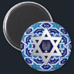 "Hanukkah/ Chanukah Gift Magnet<br><div class=""desc"">Happy Hanukkah! Star of David and Menorah Design Gift Magnets. Matching cards,  postage stamps and other products available in the Jewish Holidays / Hanukkah Category of our store.</div>"