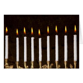 Hanukkah Chanukah Hanukah Menorah Burning Candles Greeting Card