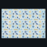 "Hanukkah Chanukah Menorah Lights Stars Driedels Tissue Paper<br><div class=""desc"">A pattern of Jewish Hanukkah elements such as menorah candelabra,  Star of David,  Driedel and Yamaka or Kippah.  The background is a light blue watercolor wash.  You can change the size of the pattern to make it larger or smaller by clicking on Customize It.</div>"